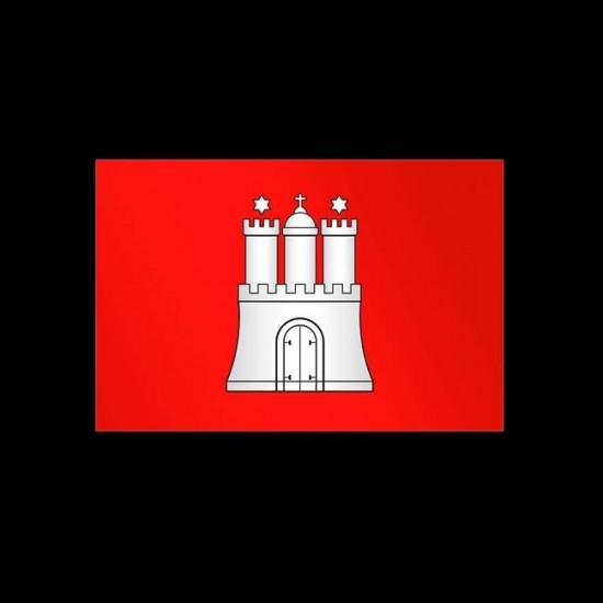 Flagge Bundesländer Querformat-Hamburg-150 x 250 cm-160 g/m²