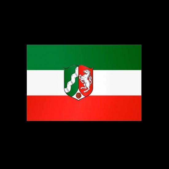Flagge Bundesländer Querformat-Nordrhein-Westfahlen mit Wappen-100 x 150 cm-160 g/m²
