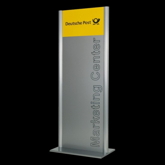Werbepylon -Alpha- zum Aufdübeln mit Bodenplatten, (BxH) 600 x 1600 mm