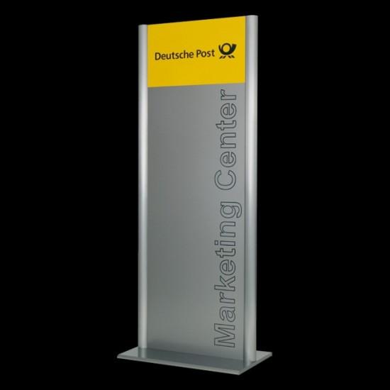 Werbepylon -Alpha- zum Aufdübeln mit Bodenplatten, (BxH) 800 x 1400 mm
