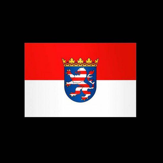 Flagge Bundesländer Querformat-Hessen mit Wappen-150 x 250 cm-160 g/m²