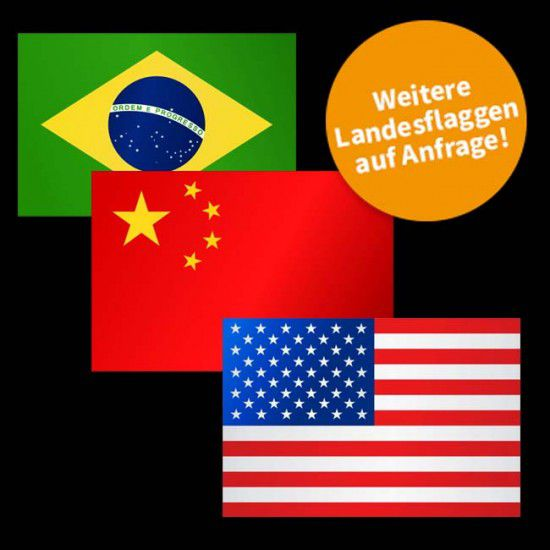 Flagge Weltweit, Hochformat-Weiteres Land-500 x 150 cm-110 g/m²-mit Hohlsaum für Ausleger