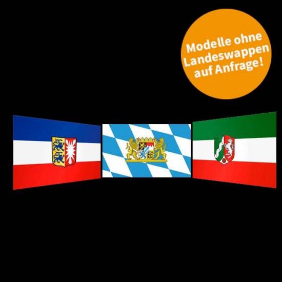 Flagge Hochformat-Bayern I-500 x 150 cm-110 g/m²-mit Hohlsaum für Ausleger