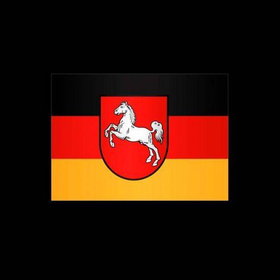 Flagge Deutschland, Hochformat-Niedersachsen-500 x 150 cm-110 g/m²-mit Hohlsaum für Ausleger