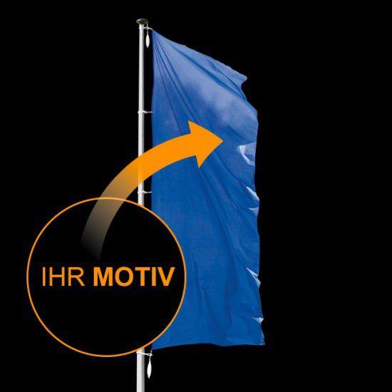 Flagge individuell nach Wunsch, Hochformat-600 x 150 cm-110 g/m²-mit Hohlsaum für Ausleger