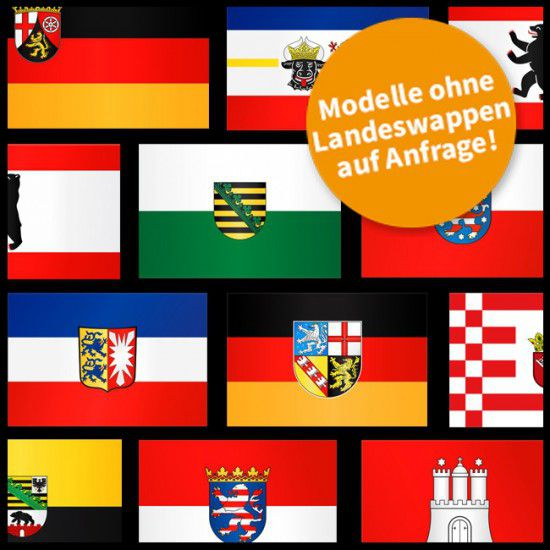Flaggen Komplett-Set Deutschland Bundesländer, Hochformat-400 x 150 cm-ohne Hohlsaum