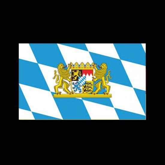 Flagge Bundesländer Querformat-Bayern mit Wappen II-150 x 250 cm-160 g/m²