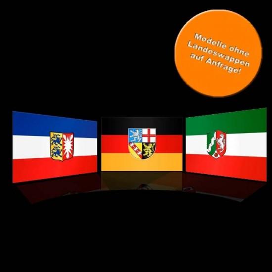 Flagge Deutschland, Hochformat-Bayern I-500 x 150 cm-110 g/m²-mit Hohlsaum für Ausleger