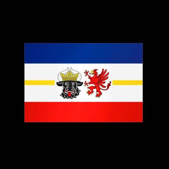 Flagge Bundesländer Querformat-Mecklenburg-Vorpommern mit Wappen-150 x 250 cm-160 g/m²